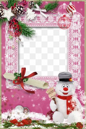 Christmas Snowman Decoration Pink Pattern Frame - Christmas Ornament Santa Claus Pink PNG