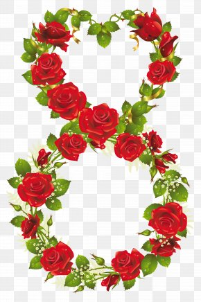 Eighth Of March With Roses PNG Clipart - Rose March 8 International Women's Day Flower PNG
