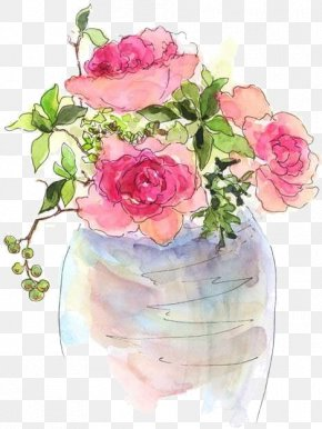Drawing Rose Watercolor Painting - Watercolor Painting Artist Trading Cards Drawing Still Life: Vase With Pink Roses PNG