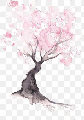 Cherry Tree - Paper Cherry Blossom Watercolor Painting Drawing PNG
