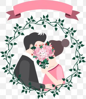 Vector Cartoon Couple With Ribbon - Icon PNG
