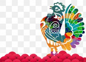 2017 Year Of The Rooster Chinese New Year Vector Material - Chinese New Year Chinese Zodiac Rooster PNG