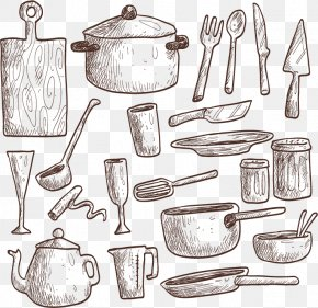Hand-painted Kitchen - Kitchen Utensil Drawing Euclidean Vector Illustration PNG