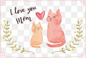 Hand Painted Cats And Mothers - Cat Mother's Day Kitten Love PNG