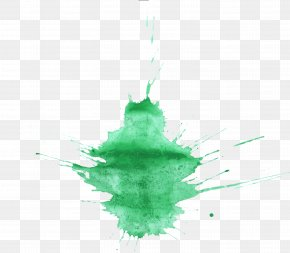 Splatter - Watercolor Painting Green PNG