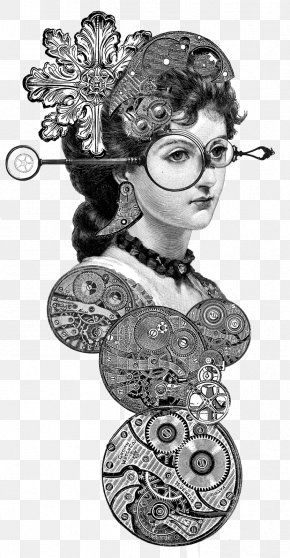 Monocle Steampunk - Clip Art Drawing Free Content Lady In A Fur Wrap Illustration PNG