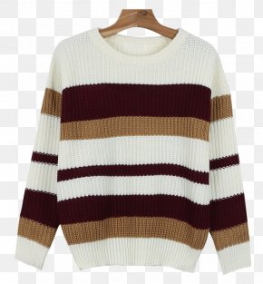 Colored Stripes - Sweater Maroon Sleeve Neck Wool PNG