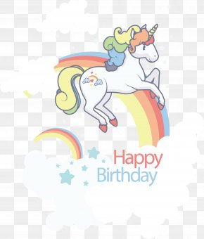 A Unicorn On A Seven Colored Rainbow - Birthday Template Clip Art PNG