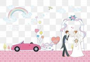 Cartoon Wedding Couple Creative Wedding Car Pink - Marriage Wedding PNG