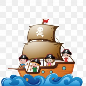 Vector Pirate Ship - Piracy Child Ship Illustration PNG