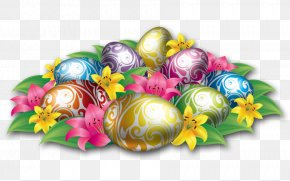 Large Easter Eggs With Flowers And Grass - Easter Icon Theme Download Wallpaper PNG