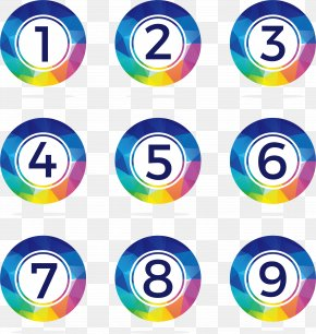 Color Low Polygon Numbers 1 To 9 - Euclidean Vector Number Icon PNG