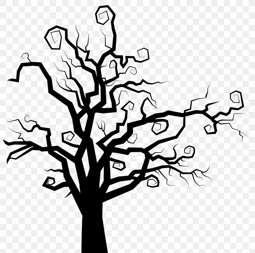 The Halloween Tree Clip Art, PNG, 6155x6103px, Tree, Black And White, Branch, Clip Art, Floral Design Download Free