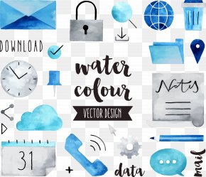 Floating Data Communication Tools - Watercolor Painting Drawing Royalty-free Illustration PNG