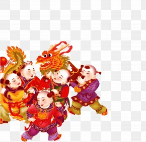 Chinese New Year Dragon Child Element - China Budaya Tionghoa Chinese Paper Cutting Chinese New Year Lantern Festival PNG