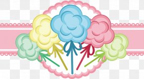 Vector Hand Colored Cotton Candy Pink Label - Cotton Candy Sweetness Euclidean Vector PNG