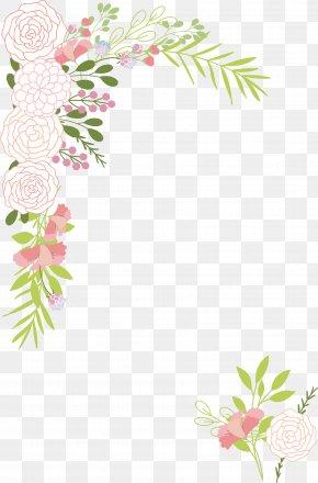 Romantic Pink Camellia Border - Wedding Invitation Download PNG