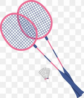 Vector Flat Badminton Racket - Badmintonracket Badmintonracket Shuttlecock PNG