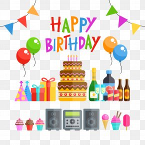 Birthday Party Vector Illustration Material - Birthday Cake Party Euclidean Vector PNG
