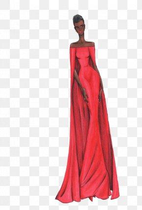High-end Women's Dress Illustration - Model Fashion Illustration Designer Illustration PNG