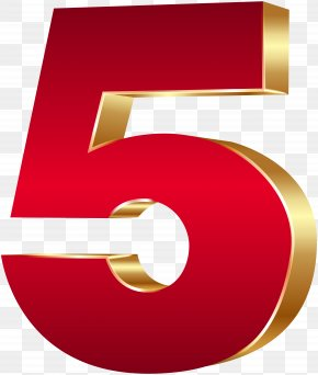 3D Number Five Red Gold Clip Art Image - 3D Computer Graphics Clip Art PNG