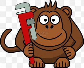 Monkey - Ape Hand Tool Spanners Vector Graphics Clip Art PNG