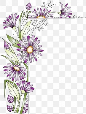 Flower Corner - Paper Flower Picture Frames Scrapbooking Clip Art PNG