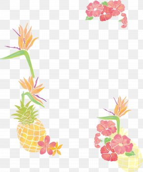 Small Fresh Watercolor Tree Pineapple Borders - Pineapple Clip Art PNG
