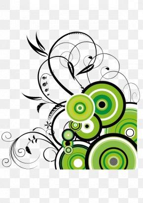 Dark Green Circle Flower Vine Vector Material - Abstract Art Flower Floral Design Clip Art PNG