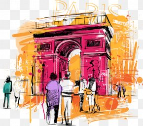 Design - Arc De Triomphe Art Watercolor Painting PNG