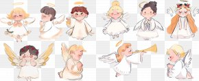 Cute Painting Prayer Angel Vector Illustration - Euclidean Vector Angel Download PNG