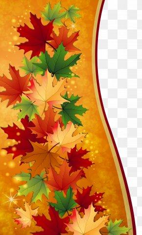 Autumn Leaves Decoration Clipart Image - Autumn Maple Leaf Clip Art PNG