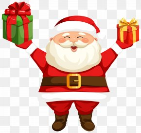 Santa Claus With Gifts Clipart Image - Santa Claus Rudolph Clip Art PNG