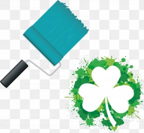 Green Paint Brush And Clover Spray Material - Shamrock Saint Patricks Day Free Content Clip Art PNG