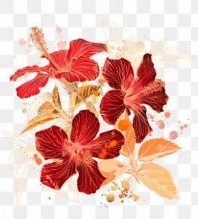 Warm Floral Patterns - Drawing Line Art Illustration PNG