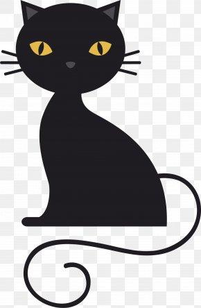Crouching Black Cat - Bombay Cat Black Cat Kitten Clip Art PNG