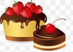Hand-painted Pattern Strawberry Chocolate Cake - Birthday Cake Christmas Cake Christmas Pudding Chocolate Cake Fruitcake PNG