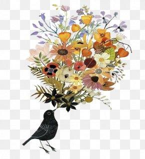 Simple Flowers Bird Illustration - Artist Work Of Art Art Blog PNG