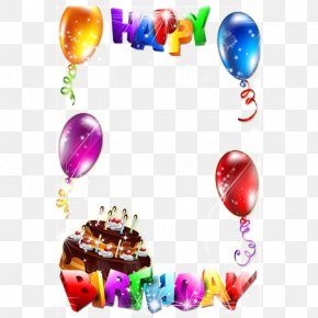 Happy Birthday Frame - Birthday Cake Picture Frame Clip Art PNG