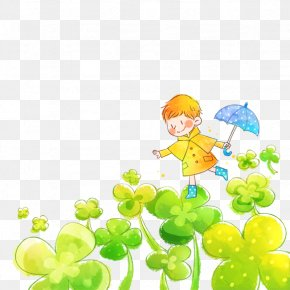 Cartoon Child - Window Blind Rainbow Green Child PNG