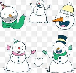 Five Cartoon Snowman - Snowman Christmas Euclidean Vector Clip Art PNG