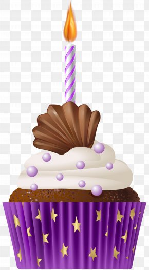 Birthday Muffin Purple With Candle Clip Art - Cupcake Birthday Cake Muffin PNG