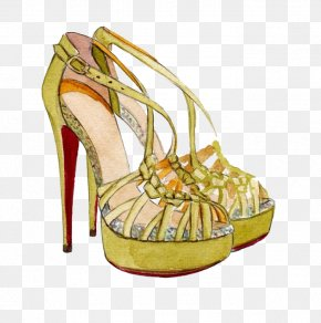 Painted High-heeled Sandals - Shoe High-heeled Footwear Sandal Fashion Drawing PNG