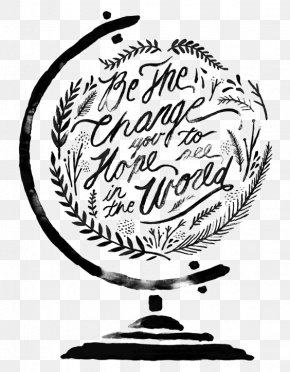 Globe - Quotation Watercolor Painting Calligraphy Lettering PNG