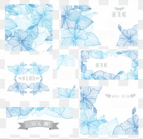 Vector Beautiful Shades Of Blue Flowers Card - Flower Blue Euclidean Vector Clip Art PNG