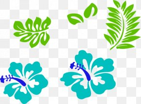 Green Leaves Hibiscus - Hawaii Clip Art Borders And Frames Rosemallows Image PNG