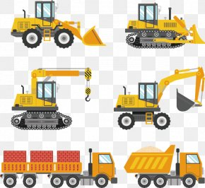 Vector Hand-painted Work Vehicle - Sticker Excavator Wall Decal Truck PNG