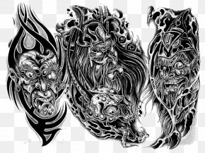 Tattoo - Tattoo Artist Drawing Flash Sleeve Tattoo PNG