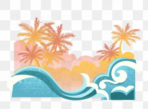 Wave Beach - Beach Graphic Design Summer Illustration PNG