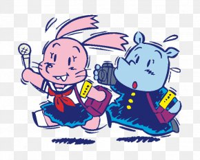Cartoon Rabbit Hippo Reporter - Journalist Cartoon Clip Art PNG